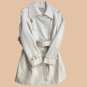 Michael Kors - Belted Asymmetrical - Ivory - Wool Trench Coat - Size 12